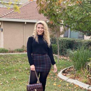 Burgundy an black plaid skirt